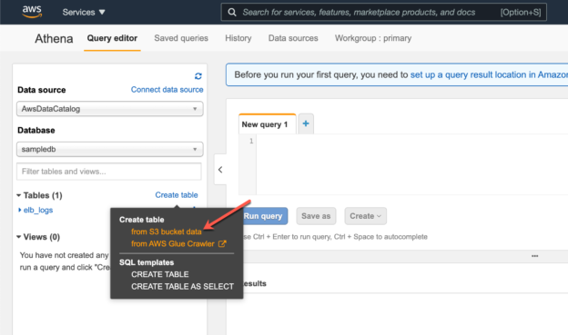 Creating a new table in AWS Athena