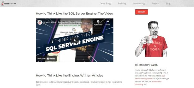How to think like the SQL server engine web page