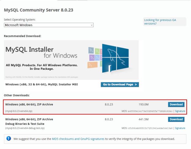 MySQL download page