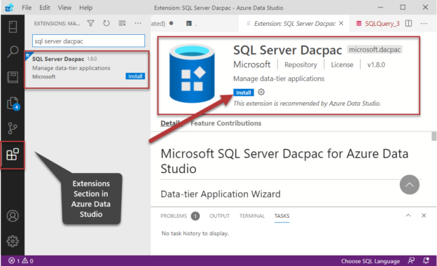 SQL Server Dacpac extension showing up in the search box in Extensions in Azure Data Studio