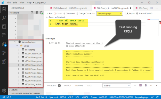 Test running tSQLt