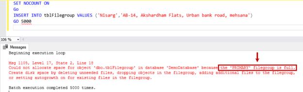 primary filegroup is full error