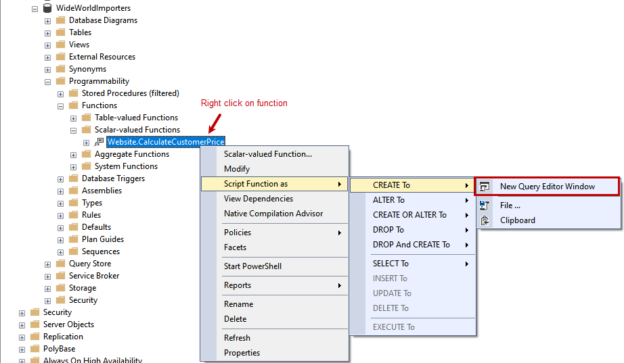 Get T-SQL definition of function using SSMS