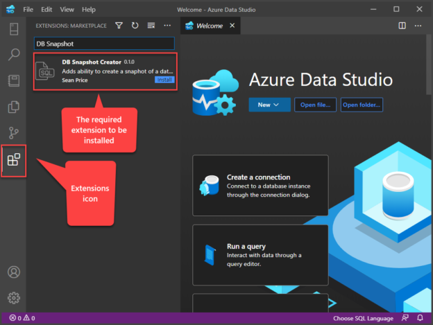 Searching DB Snapshot Creator extension in the Extensions section of Azure Data Studio