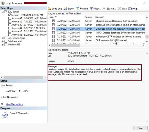 Check Instant File Initialization using error log file