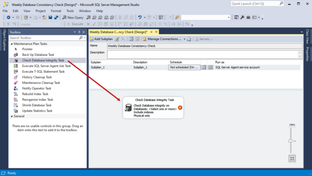 Drag and drop rhw maintenance plan to perform SQL Server dbcc checkdb