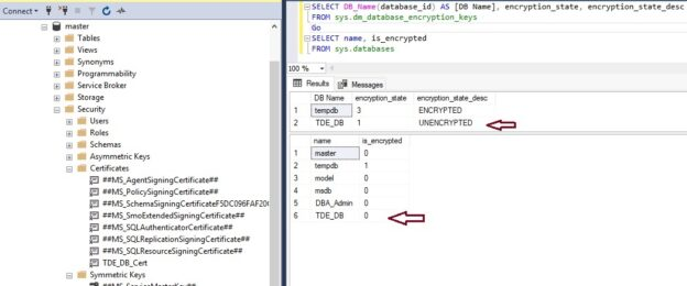 Check Transparent Data Encryption state after removing TDE