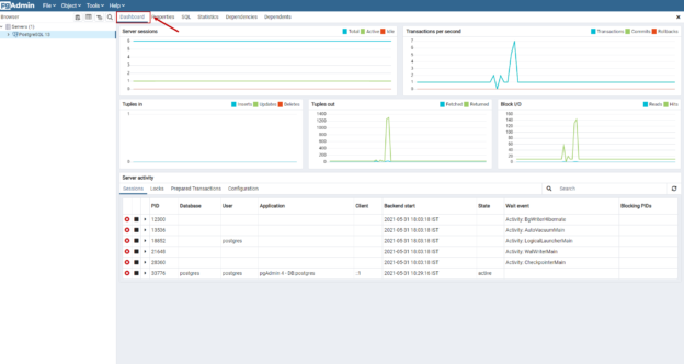 PostgreSQL Server dashboard
