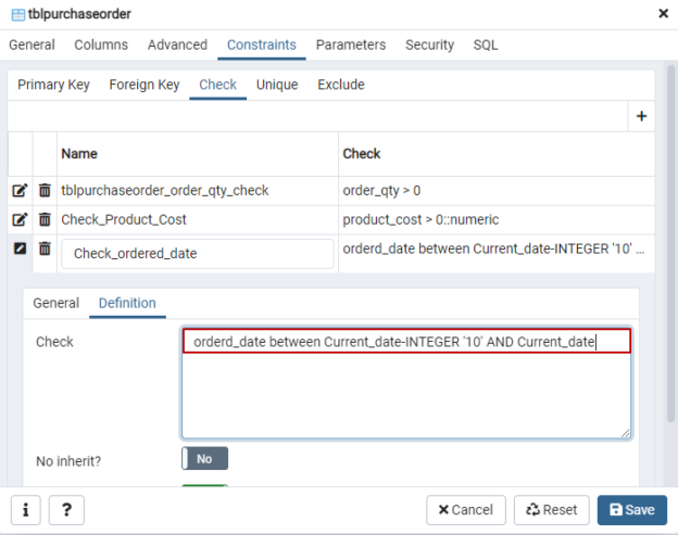 Specify the postgres Check constraint definition